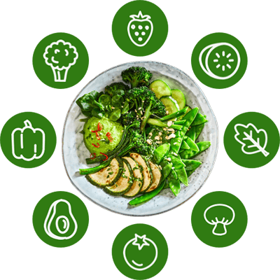 A circle of vegetables surrounding a Whole food, plant-based meal.