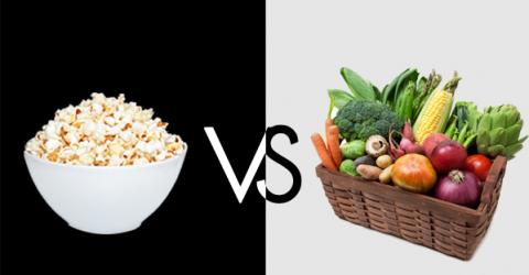 ¿Las palomitas de maíz son más saludables que los vegetales?