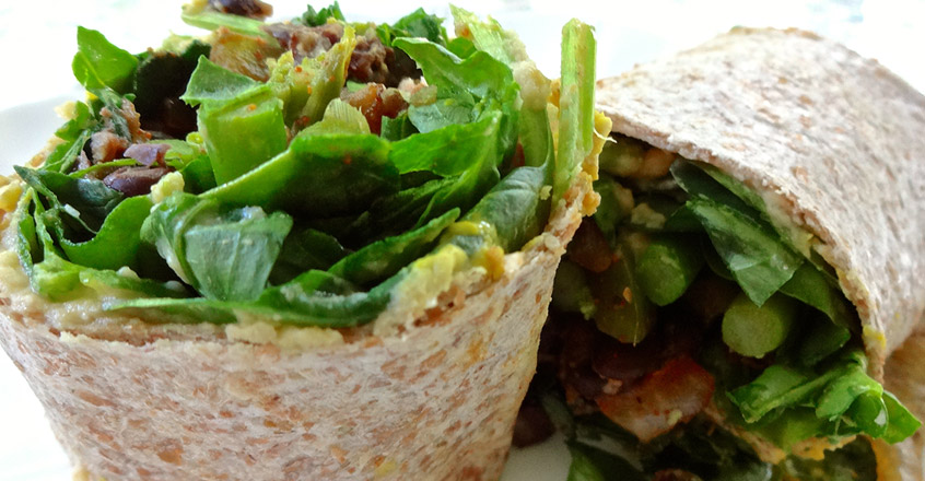 Salad Wraps with Beans and Greens Recipe