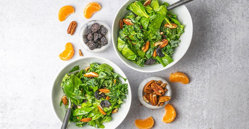Spinach and Kale with Maple Citrus Dressing