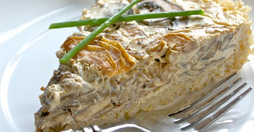 Mushroom and Onion Tart With Brown Rice Crust Recipe