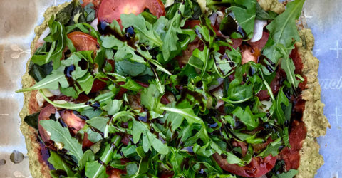 Arugula, Pear, and Balsamic Pizza With Almond Crust