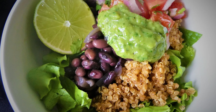 Quinoa Fiesta Bowl with Beans, Pico de Gallo, and Avocado Lime Dressing