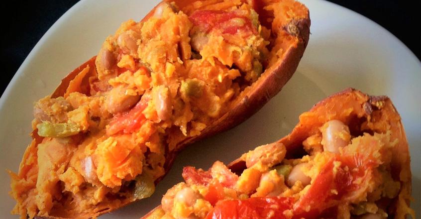 7 Minute Southwestern Stuffed Sweet Potato