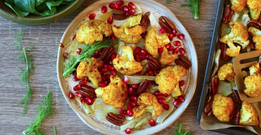 Baked Turmeric Cauliflower With Fennel