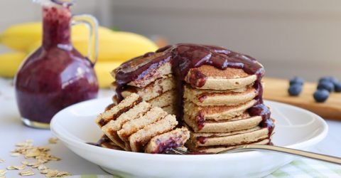 Cinnamon Pancakes With Blueberry Date Syrup