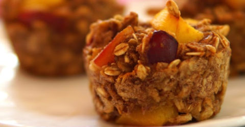Fresh Plum and Nectarine Oatmeal Muffins