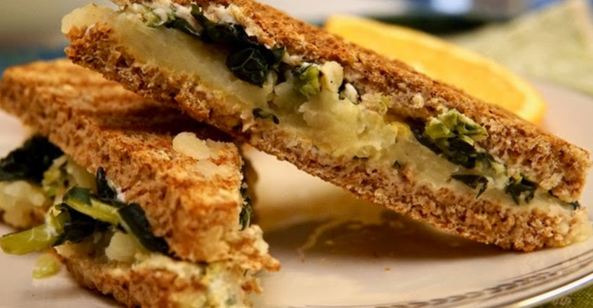 Breakfast Panini with Potatoes and Greens