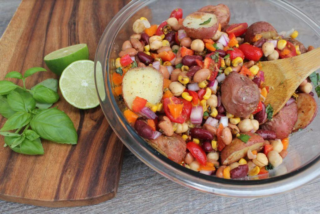 Three Bean Salad With Roasted Potatoes