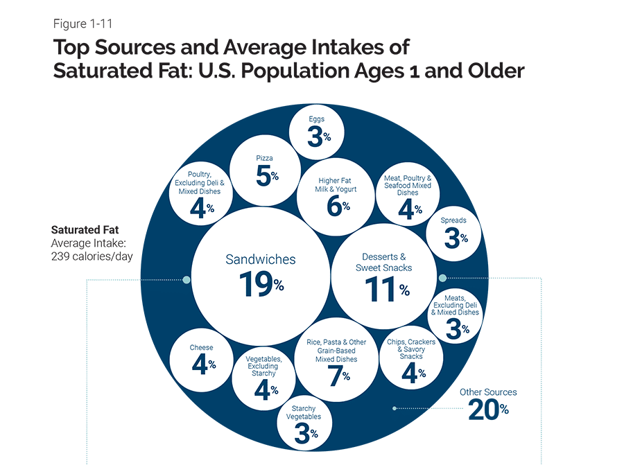 Graph showing top sources and average intakes of saturated fat